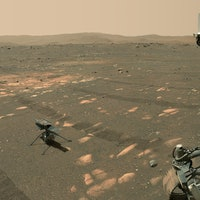 NASA's Perseverance Mars rover took a selfie with the Ingenuity helicopter, seen here about 13 feet ...