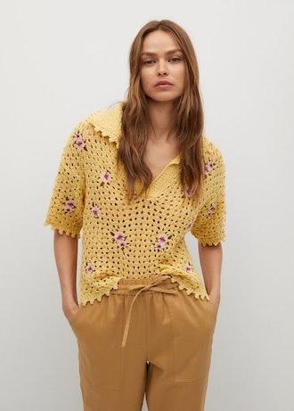 Floral Crochet Polo
