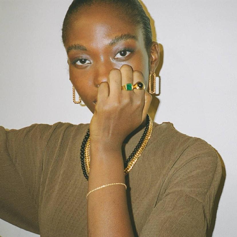 Model wearing Missoma jewelry.