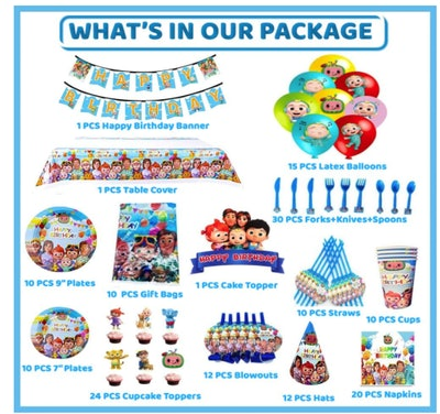 169 PCS Cocomelon Birthday Party Supplies