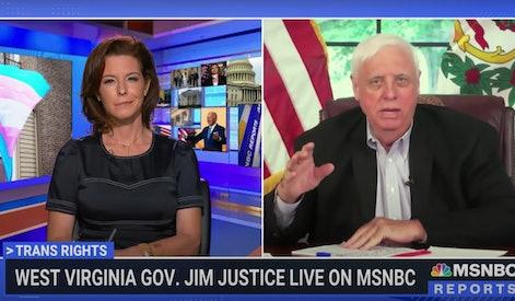 West Virginia Governor Jim Justice and NBC Reporter Stephanie Ruhle debate anti-transgender legislation