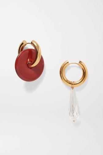 Gold-Tone Resin & Crystal Earrings
