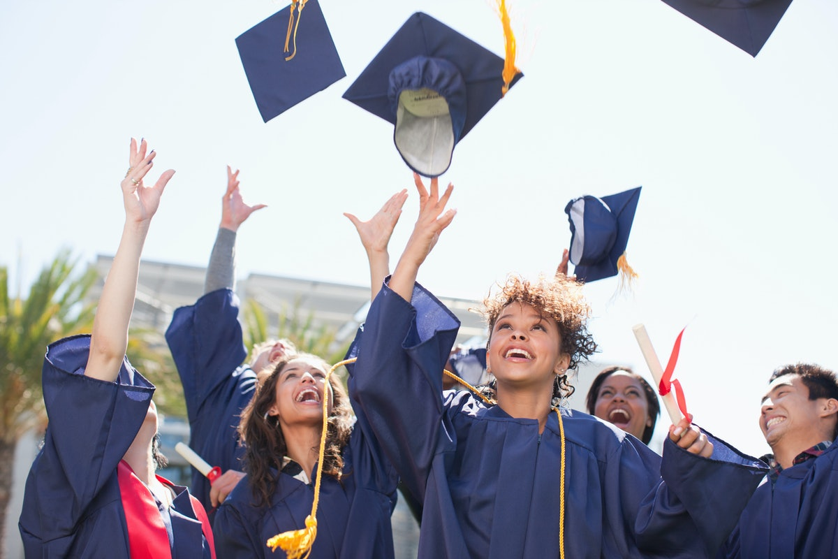 Young graduates throwing their caps in the air on graduation day.