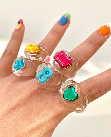 Clear Rainbow Lucky Ring - Oval Spaceship
