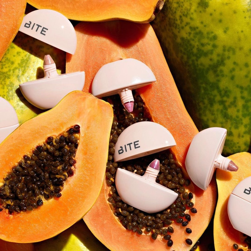 new bite beauty daycation blushes on top of papaya fruit