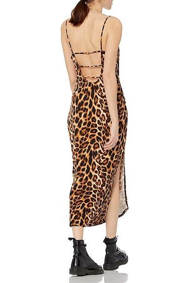 Wild Meadow Spaghetti Strap Bib Front U Back Knit Midi Dress
