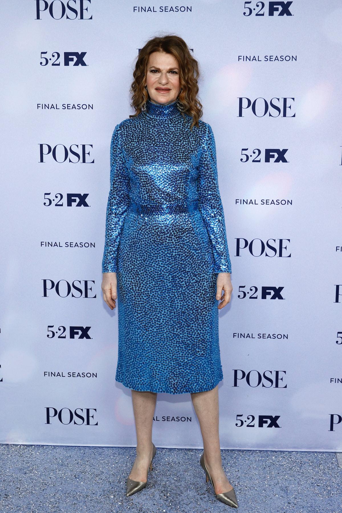 Sandra Bernhard wearing blue