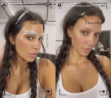 Kim Kardashian bleaching her eyebrows.