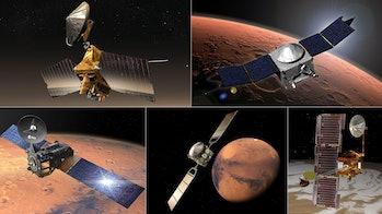 NASA's Mars Reconnaissance Orbiter (MRO), Mars Atmospheric and Volatile EvolutioN (MAVEN), Mars Odyssey, and the European Space Agency's (ESA's) Mars Express and Trace Gas Orbiter (TGO).