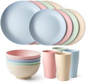 Teivio Unbreakable Dinnerware Set (16 Pieces)