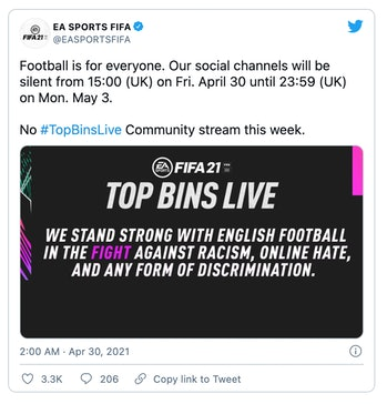 EA Sports has joined other football associations to temporarily boycott social media platforms over hate speech.