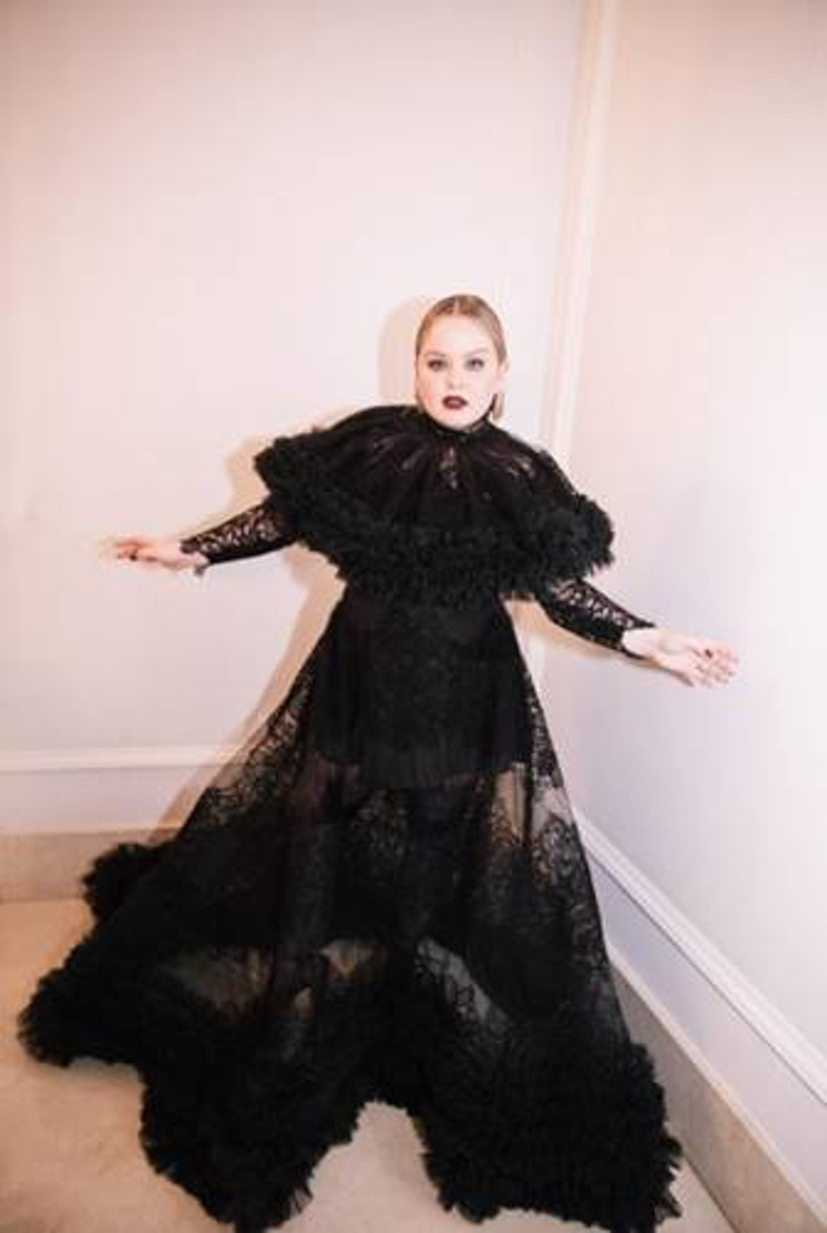 Nicolah Coughlan in black Christian Siriano dress