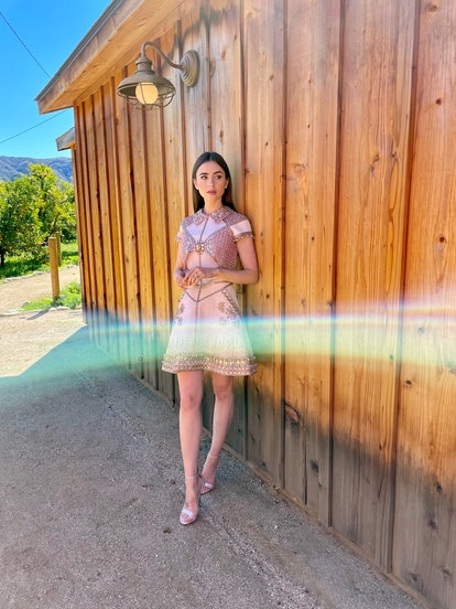 Lily Collins dressed for the 2021 SAG Awards