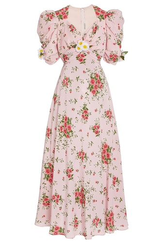 Pink Daisy Printed Silk Dress