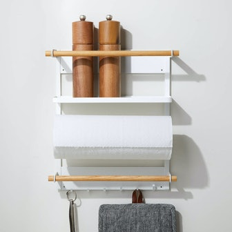 Yamazaki Tosca White Magnetic Kitchen Organization Rack