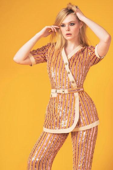 Elle Fanning sequined suit SAG Awards