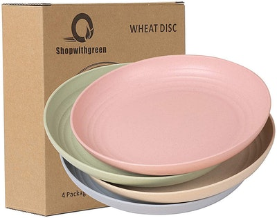 Shopwithgreen Unbreakable Wheat Straw Plates (Set of 4)