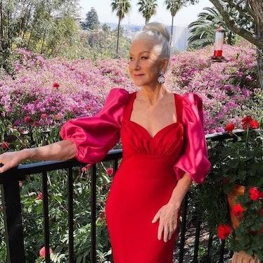 Helen Mirren Pink and red dress SAG Awards