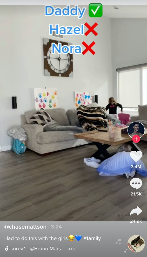 A family plays hide and seek at home for TikTok.