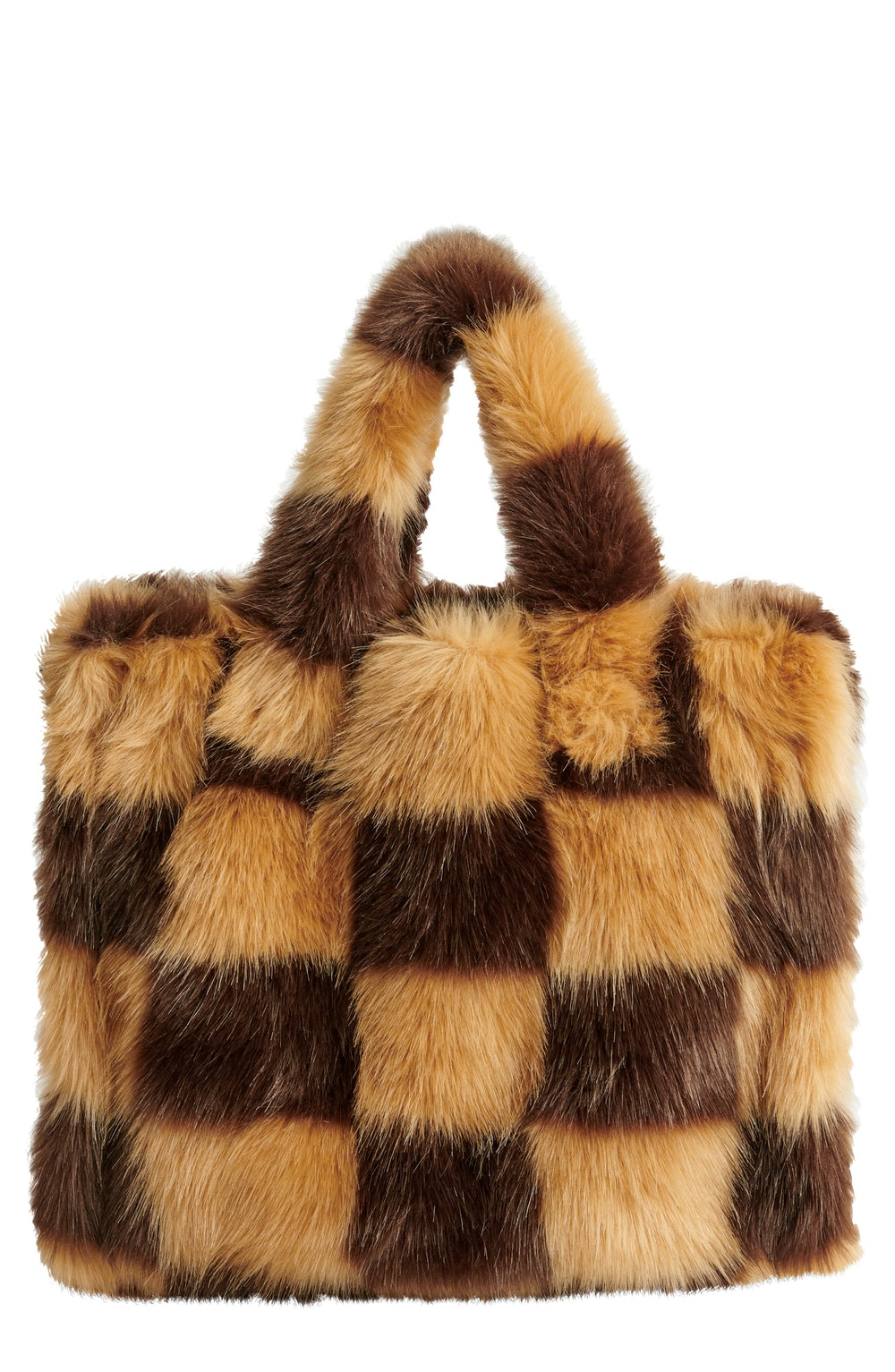 Medium Lolita Check Faux Fur Tote
