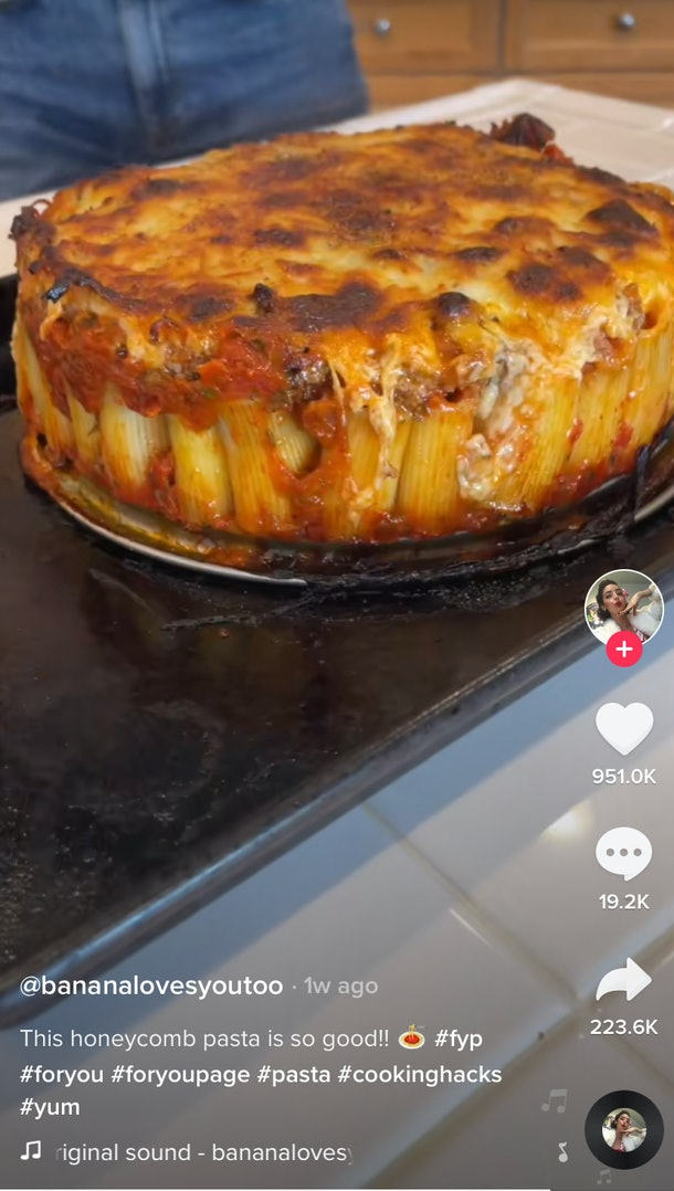 """A plate of """"honeycomb"""" pasta from TikTok sits on a kitchen counter."""