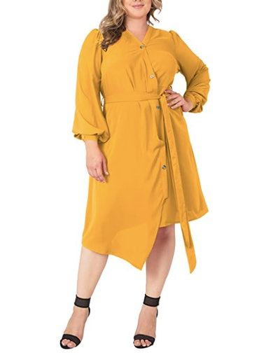 Standards & Practices Plus Size Button-Up Wrap Dress