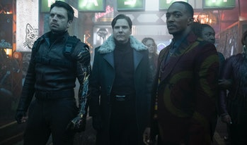 Sebastian Stan, Daniel Brühl, and Anthony Mackie in The Falcon and the Winter Soldier Episode 3