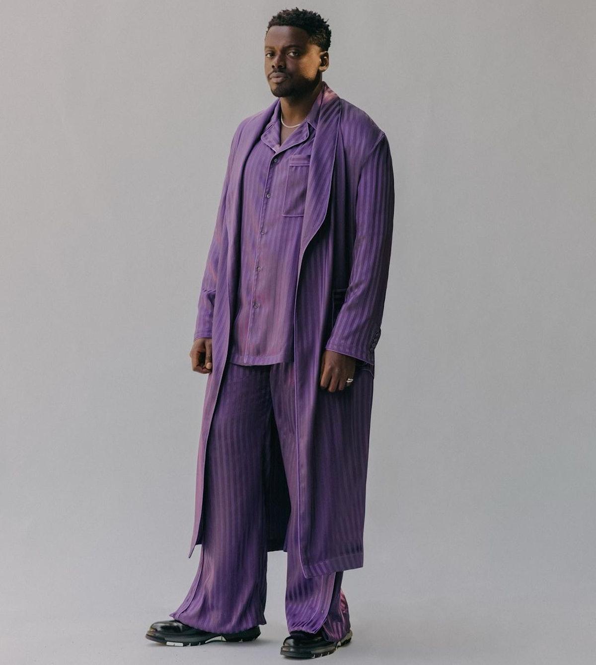 Daniel Kaluuya purple robe and pajamas SAG Awards