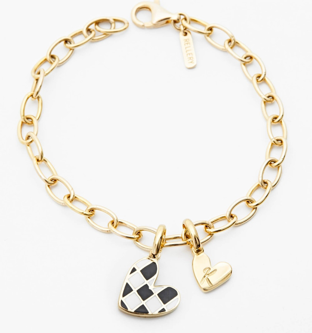 Checker Heart - Initial Bracelet