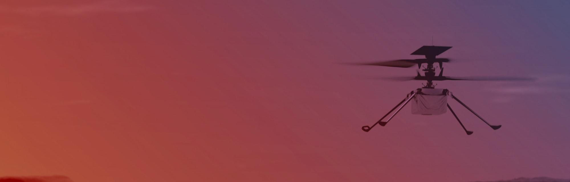 An illustration of NASA's Ingenuity Helicopter flying on Mars
