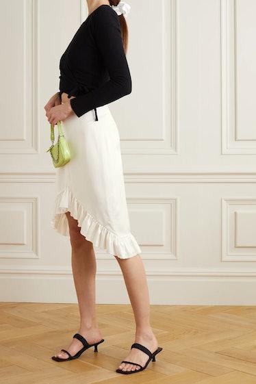 Gaelle Asymmetric Ruffled Silk-Satin Skirt