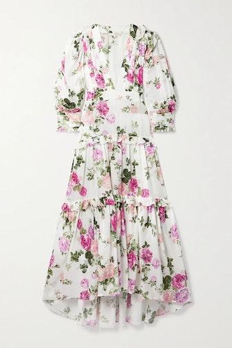 Lorencia ruffled floral-print matte-satin maxi dress