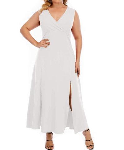 Gxlu Plus Size Sleeveless Front Split Maxi Dress