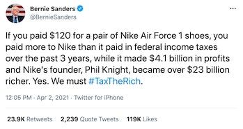 Bernie Sanders Nike Tax Tweet