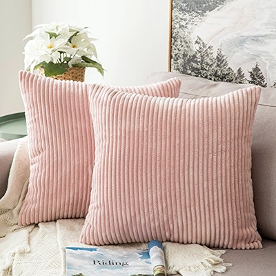MIULEE Corduroy Throw Pillow Covers (2-Pack)