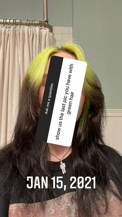 Billie Eilish poses with the last photo of her black and green hair from January 15, 2021