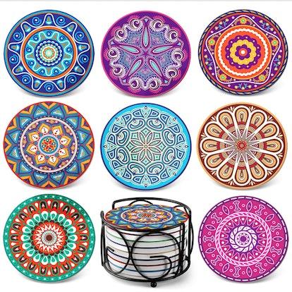 Teivio Ceramic Mandala Coasters (8-Pack)