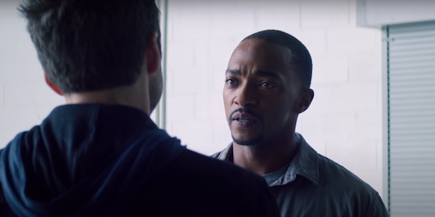 Sam Wilson — aka The Falcon — talks to Bucky in 'The Falcon and the Winter Soldier.'
