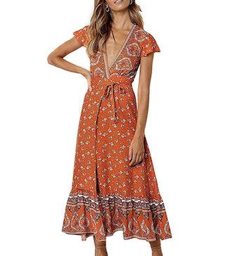 ZESICA Floral Wrap Maxi Dress