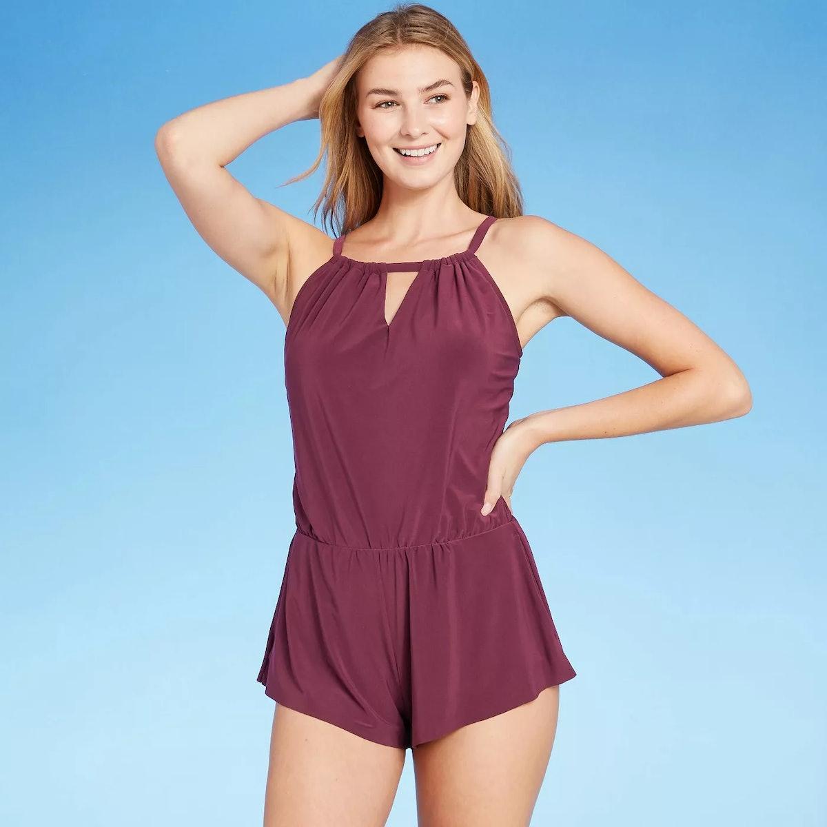Aqua Green Women's High Neck Swim Romper with Pockets