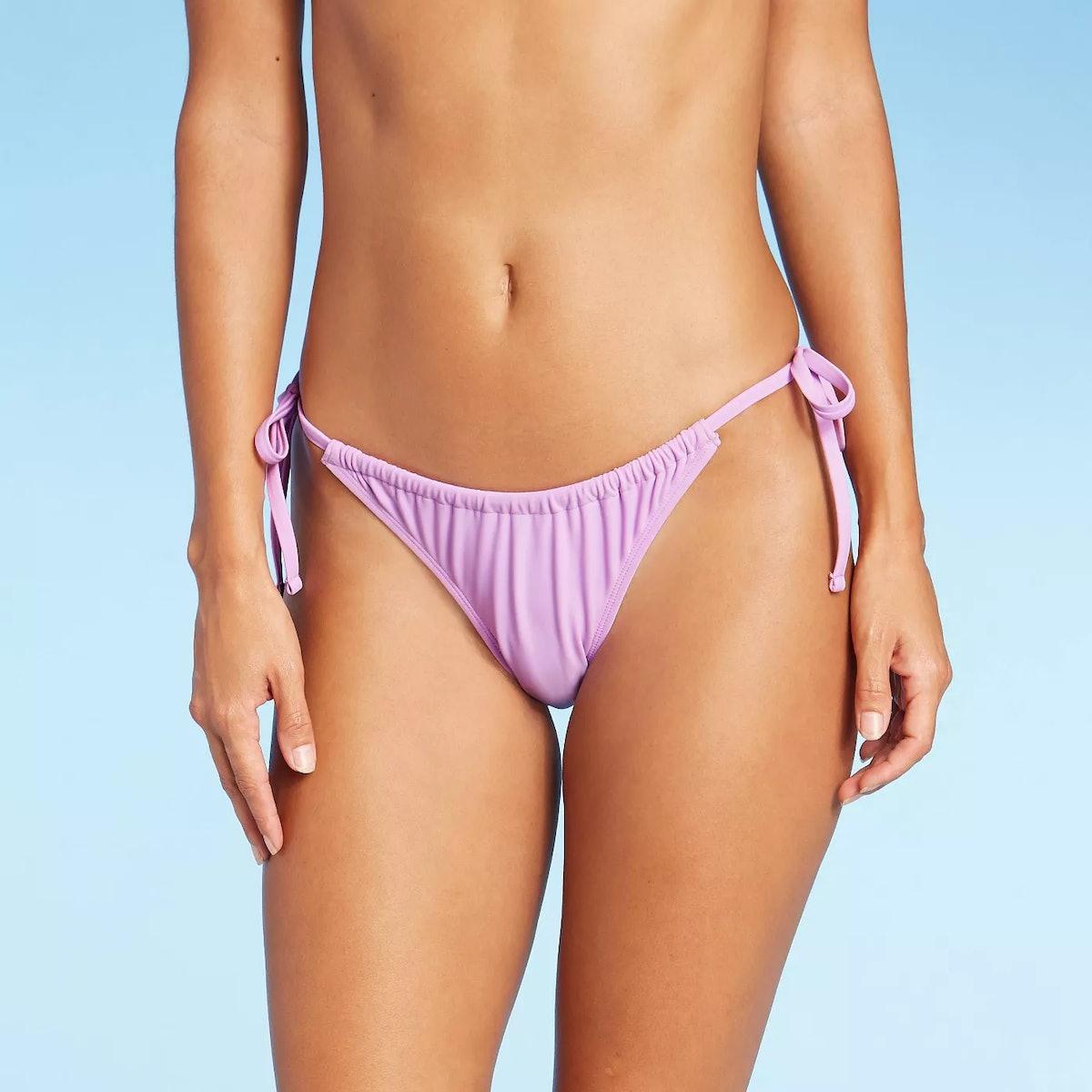 Xhilaration Juniors' Shirred Side-Tie High Leg Scoop Bikini Bottom