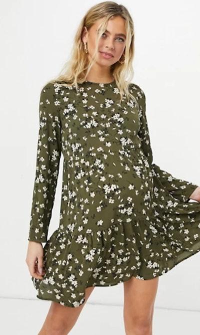 Maternity Long Sleeve Smock Mini Dress