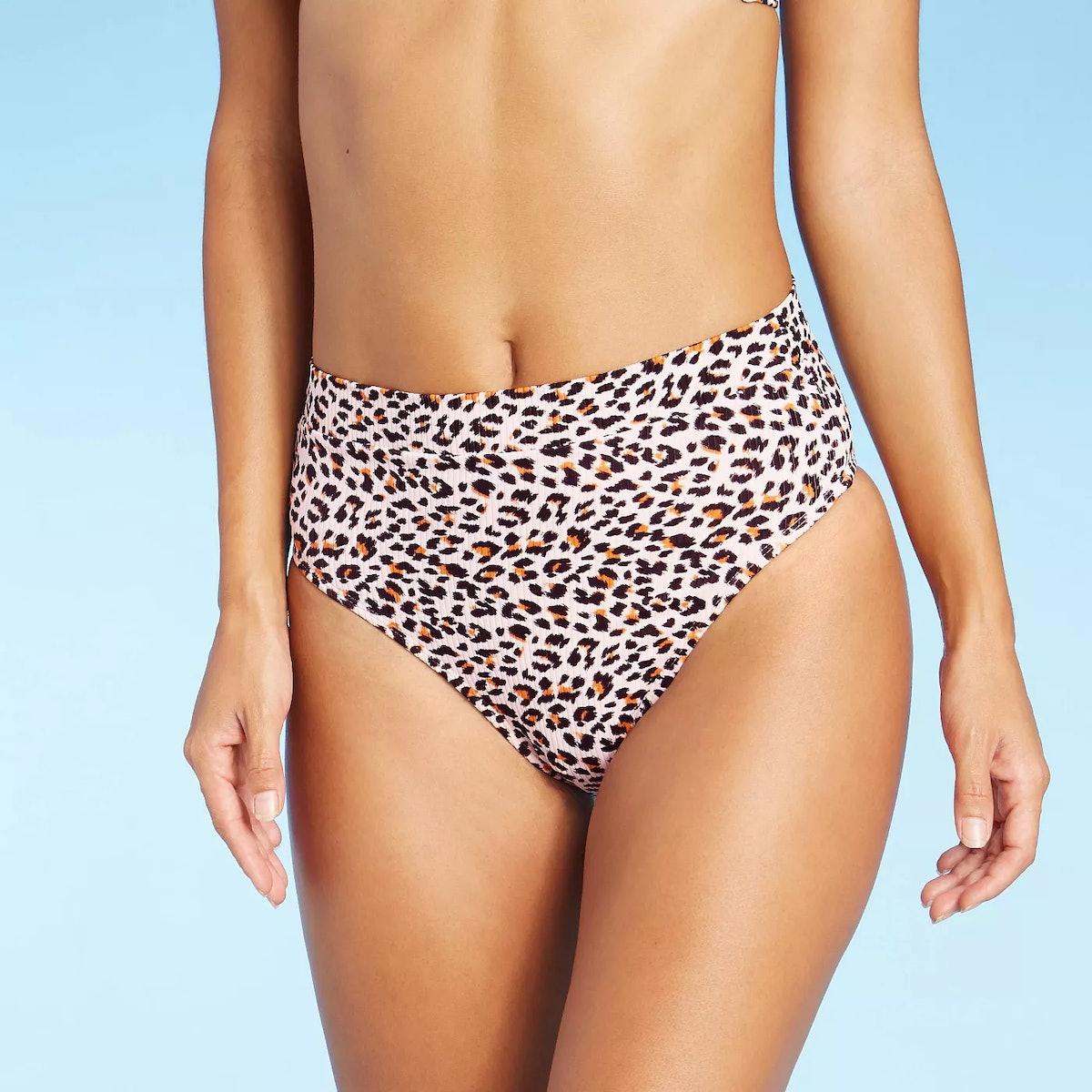 Xhilaration Juniors' Ribbed Cheeky High Leg High Waist Bikini Bottom