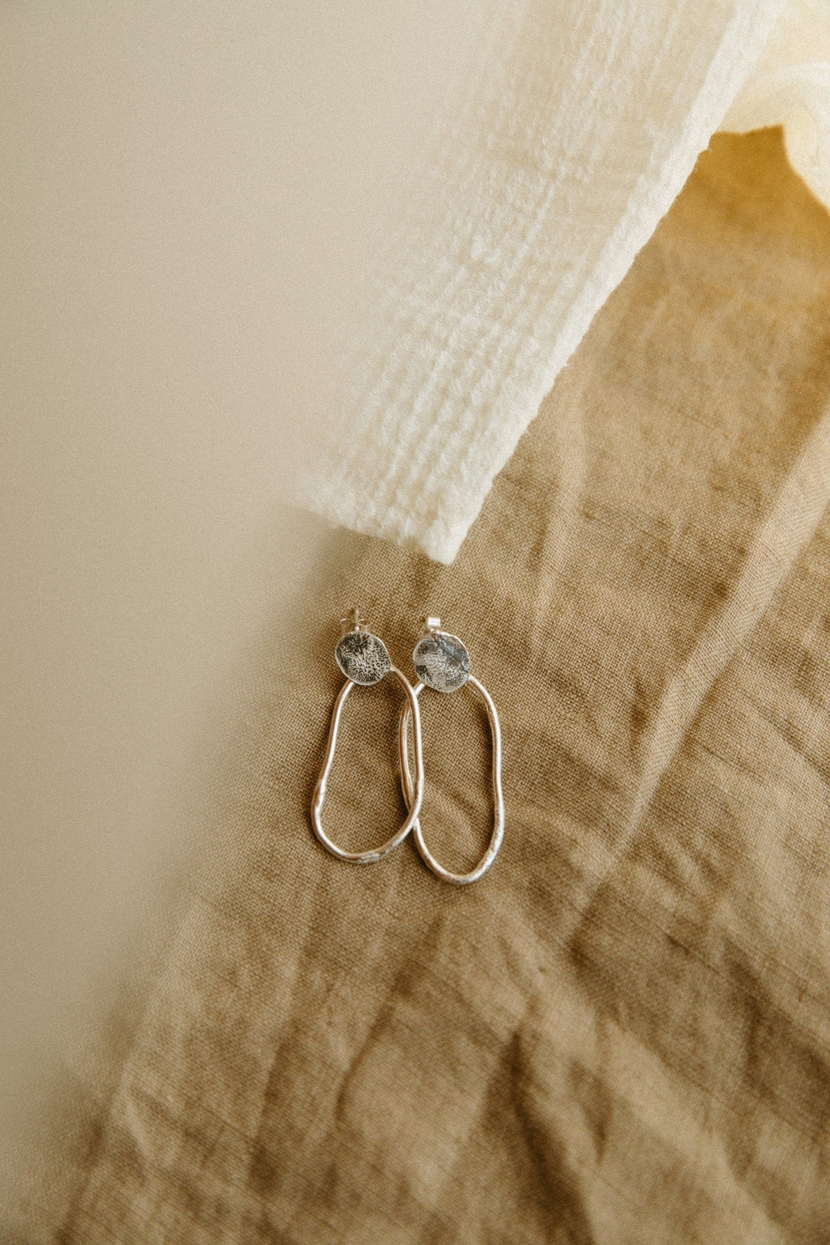 Recycled Sustainable Sterling Silver Molten Stem & Petal Hoops