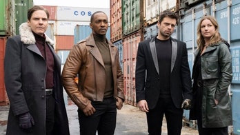 Daniel Brühl, Anthony Mackie, Sebastian Stan, and Emily VanCamp in The Falcon and the Winter Soldier Episode 3