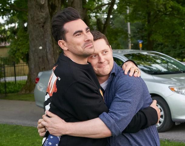 David and Patrick hugging on PopTV's 'Schitt's Creek'