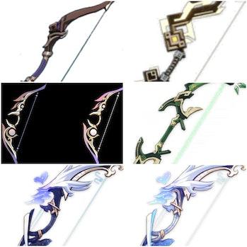 Genshin Impact Leaked weapons Ebony Bow, Mirror Breaker, Kirin inital form. (Right) – Dreams of Drag...