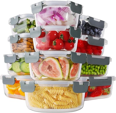 Bayco Glass Food Storage Containers with Lids (24 Pieces)