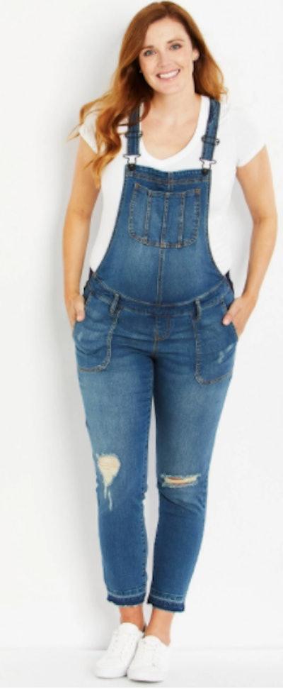 Indigo Blue Side Panel Letdown Hem Maternity Overalls