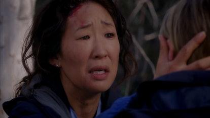 Meredith and Cristina found each other post-plane crash on 'Grey's Anatomy.' Screenshot via ABC